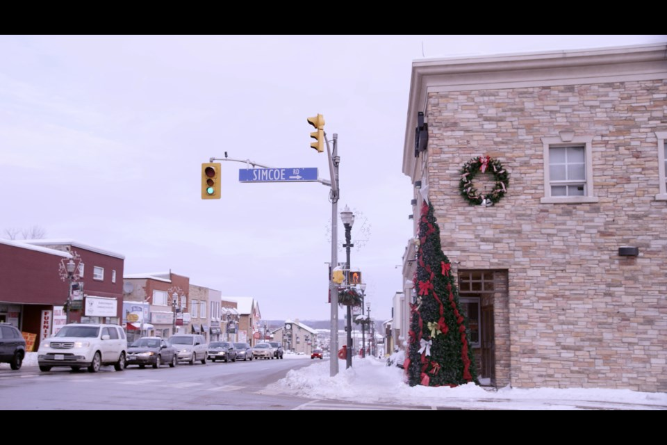 This image of downtown Bradford is a transitional shot in the movie Christmas Wedding Planner. Image courtesy of Brain Power Studio