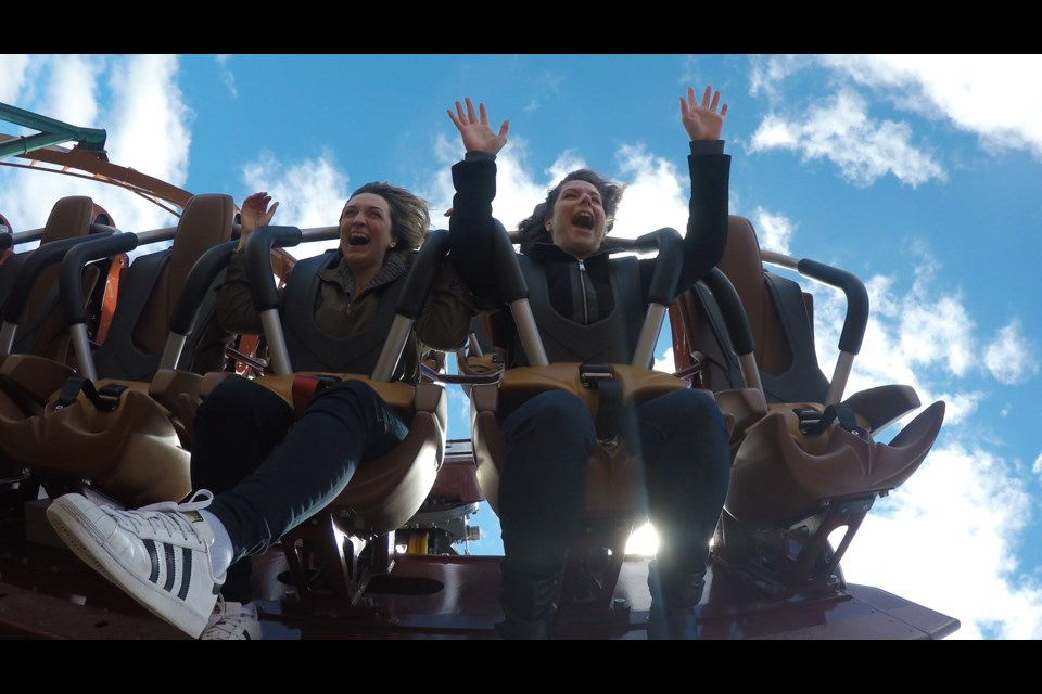 BradfordToday reporter Jenni Dunning, right, and freelance writer Natasha Philpott ride the Yukon Striker at Canada's Wonderland. Submitted/GoPro image