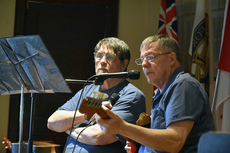 Meade Helman, left, and Joe Pipino audition on stage, singing House of the Rising Sun. Miriam King/Bradford Today