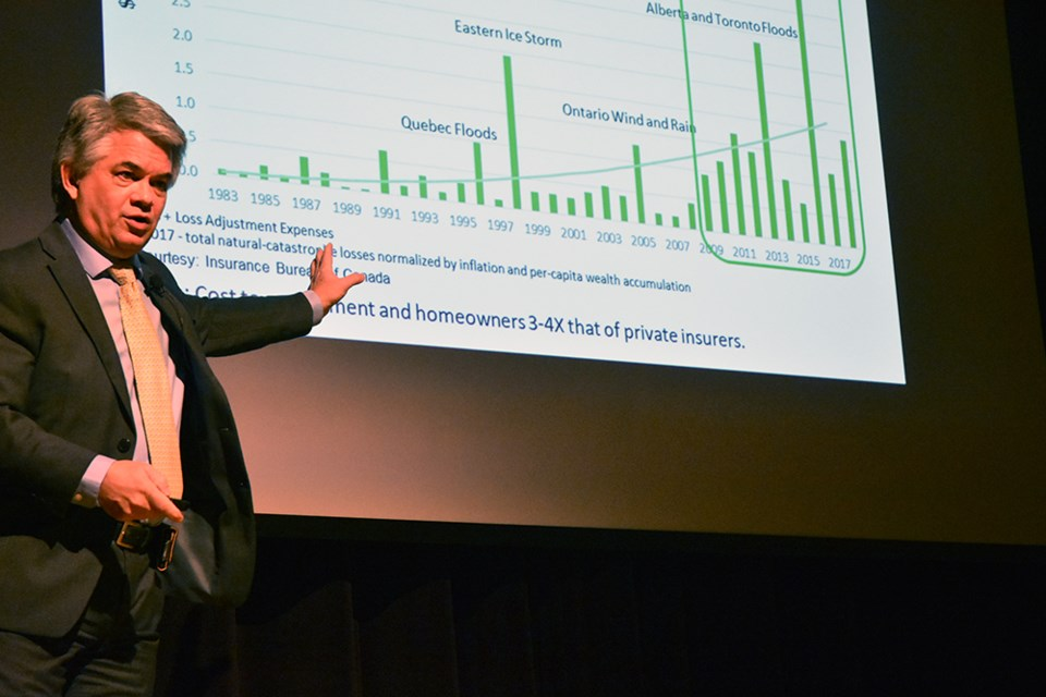 Dr. Blair Feltmate points to a graph showing the impact of severe weather on insurance claims. Miriam King/Bradford Today
