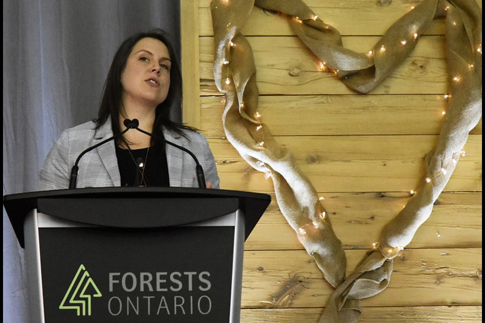 Jessica Kaknevicius, VP of community engagement with SFI, the Sustainable Forestry Initiative, at the 2020 Forests Ontario Conference. Miriam King/Bradford Today