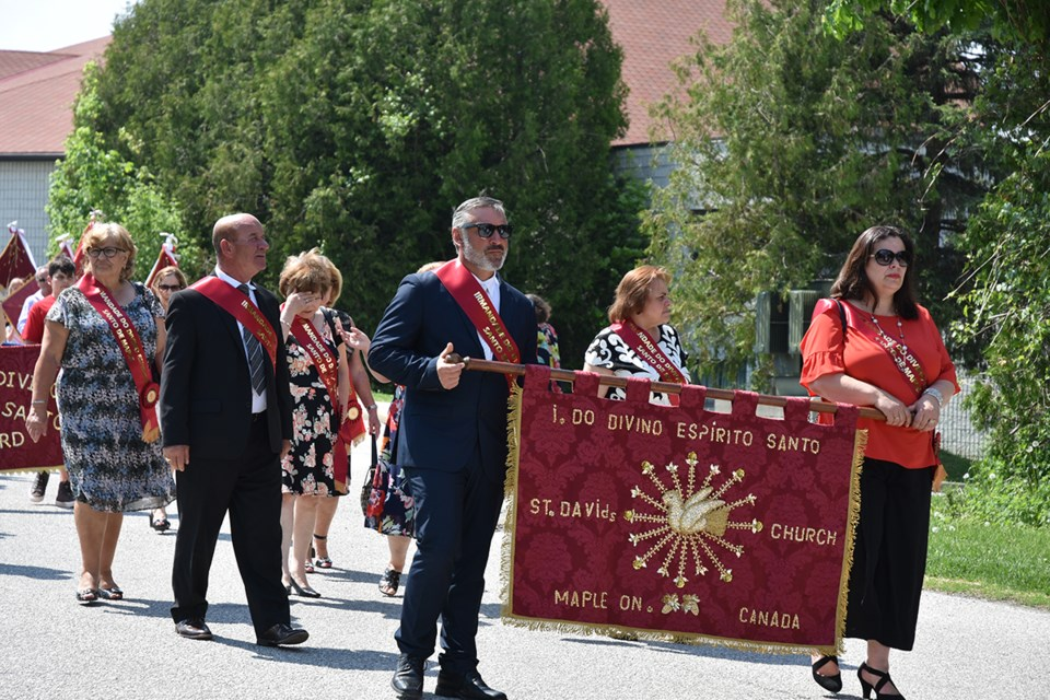 Participants in the parade celebrating Santissima Trindade came from as far away as Maple and Toronto. Miriam King/Bradford Today
