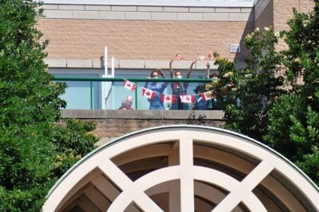 canada day 2020 at bradford nursing home window