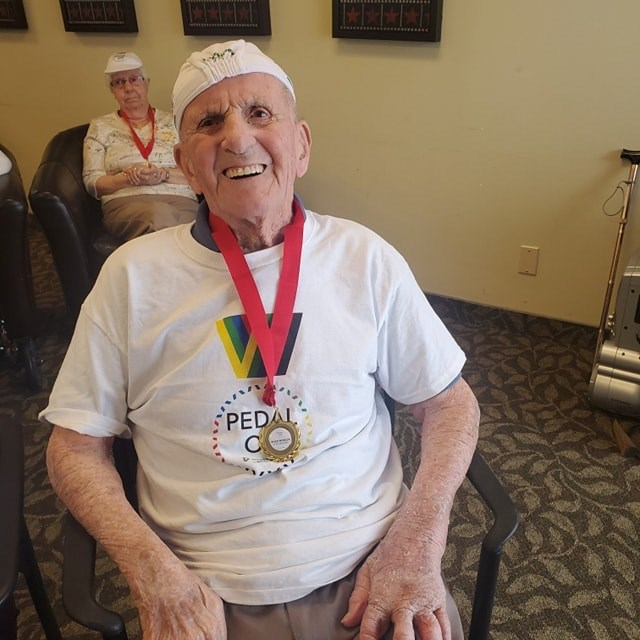 Bill Young, a Cedarvale Lodge Retirement and Care Community resident, enjoys virtual cycling through Road Worlds for Seniors. Supplied photo/Cedarville Lodge