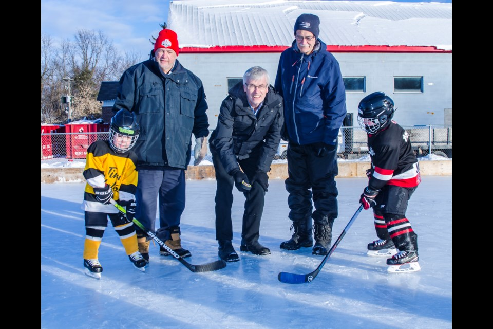 BWG Mayor, Rob Keffer is joined by BWGMHA President, Paul Dossey and BWG Councillor, Gary Baynes drop the puck for the 12th annual Hockey Day in BWG. Dave Kramer for BradfordToday.