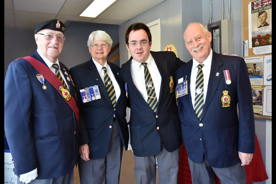 From left, George Neilson, Past president Ruth Brooks, Matthew Walker, and president Mike Giovanetti, at the Bradford Legion's levee on New Year's day. Miriam King/Bradford Today