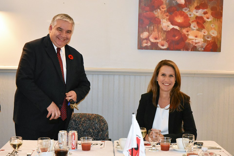 Former MP for York-Simcoe Peter Van Loan joins MPP for York Simcoe and Ontario Attorney General Caroline Mulroney at the Bradford Legion's Remembrance Dinner. Miriam King for BradfordToday