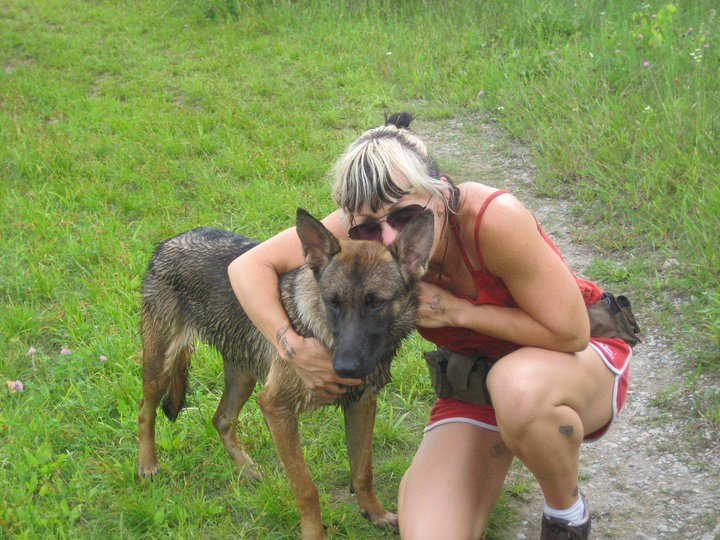 Stacey Bowman and one of her German Shepherd's, a rescue animal.