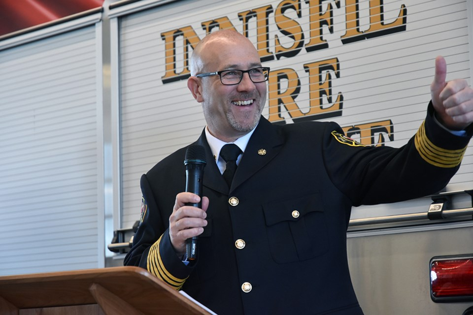 Innisfil Fire Chief Tom Raeburn gives a big thumbs up at the Opening of Innisfil Fire Station no. 5, on Big Bay Point Road. Miriam King/Bradford Today