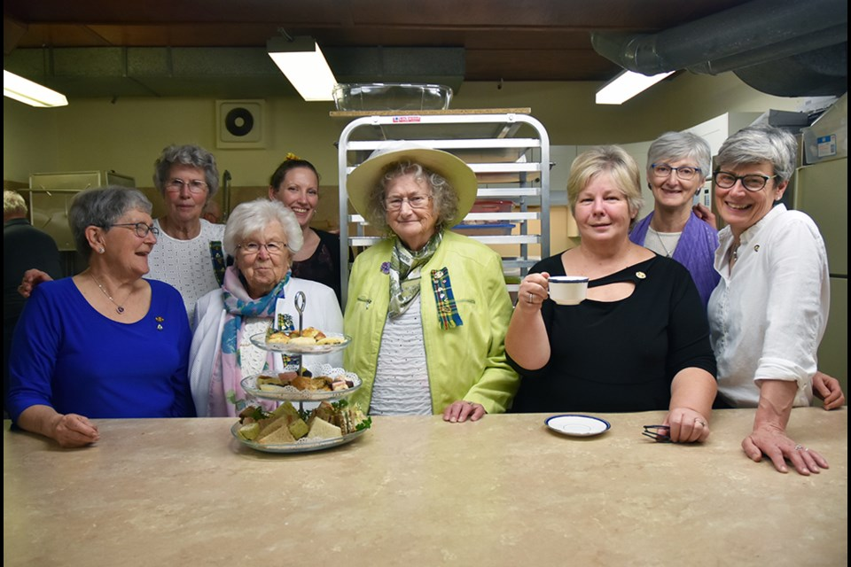 From left, Tec-We-Gwill Women's Institute members Jean Calder, Helen Hamilton, Sylvia Plant, Kimberly West Kolb, Ellen Hickson, Pat Wood, Bonnie West and Sally Sainsbury, at the High Tea. Miriam King/Bradford Today