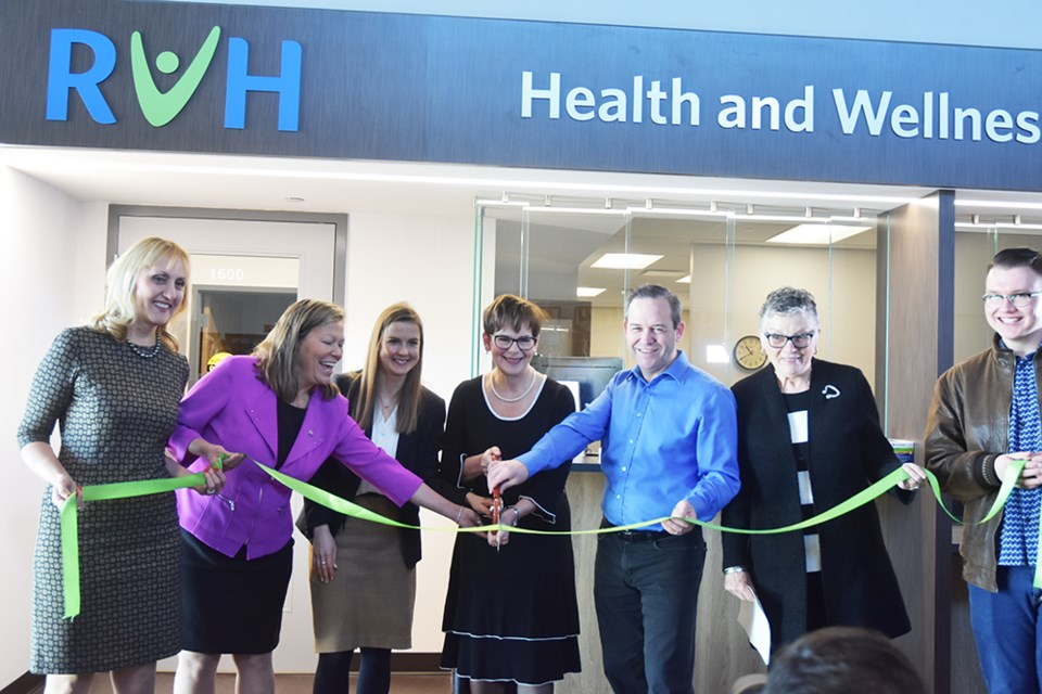 From left, RVH executive VP Nancy Savage, Innisfil Mayor Lynn Dollin, Barrie-Innisfil MPP Andrea Khanjin, RVH president and CEO Janice Skot, Attorney General and Barrie-area MPP Doug Downey, Barbara Love, and, representing MP John Brassard, Andrea Chiappetta, cut the ribbon on Friday. Miriam King/Bradford Today