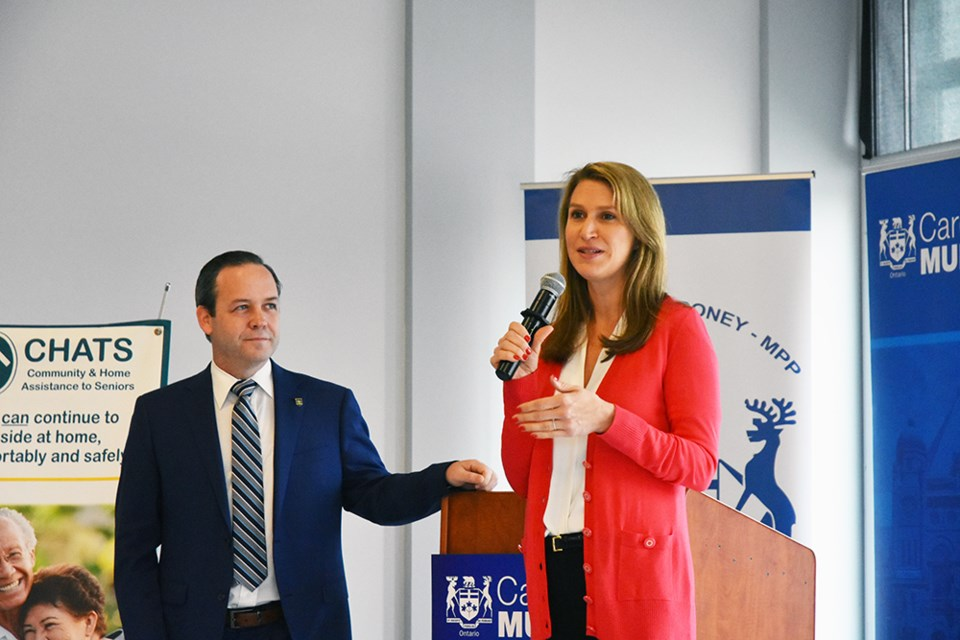 MPP Caroline Mulroney, with assistant to the Finance Minister, MPP Doug Downey, at the Seniors' event in East Gwillimbury, Miriam King/Bradford Today
