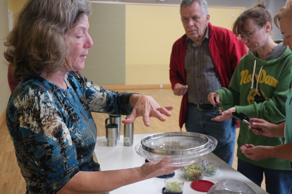 Cathy Nesbitt teaches guests how to grow your own sprouts at the BWG Library on Saturday morning. Natasha Philpott/BradfordToday