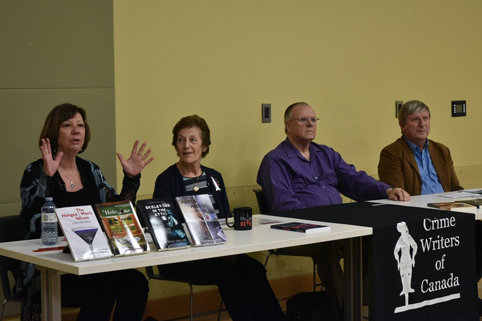 On the Crime Writers of Canada panel, from left, Judy Penz Sheluk, Lorna Poplak, John Worsley Simpson, and Ken Ogilvie. Miriam King/Bradford Today