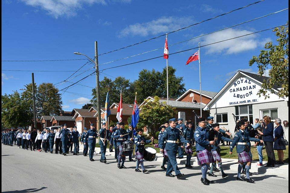 Cadets on Parade, in front of the Bradford Legion on Sept. 22. Miriam King/BradfordToday