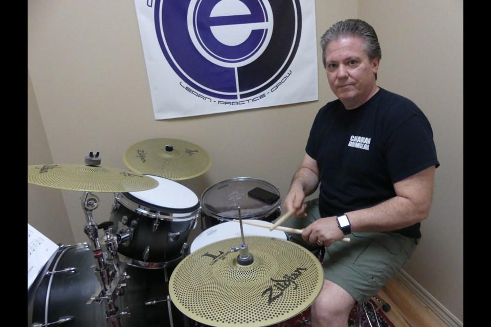 Canadian Drum Gear owner Nick Volpe in his drum studio. Jenni Dunning/BradfordToday