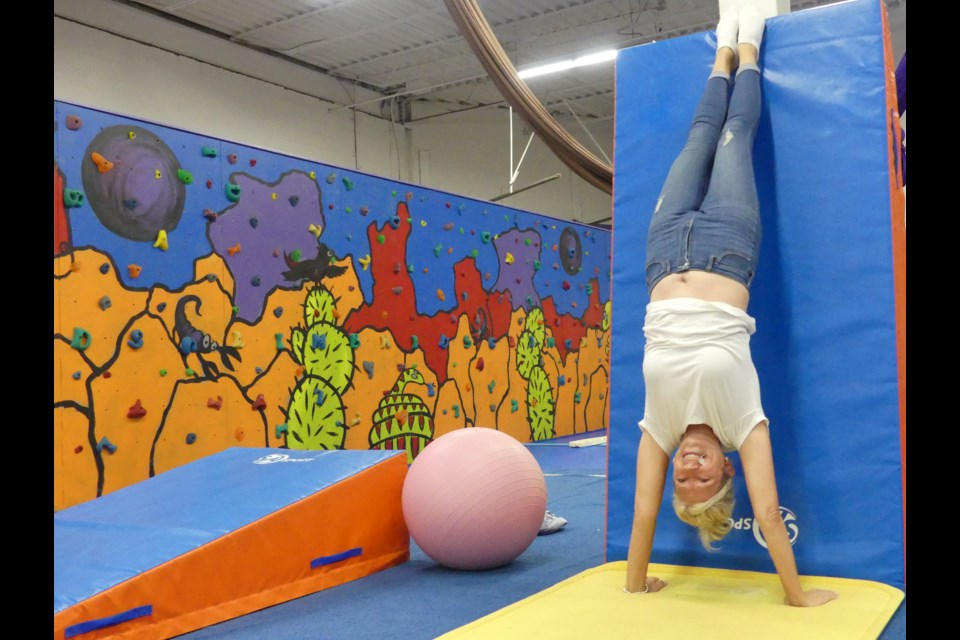 She has still got it! Genesis Gymnastics owner Donna Katz does a handstand. Jenni Dunning/BradfordToday