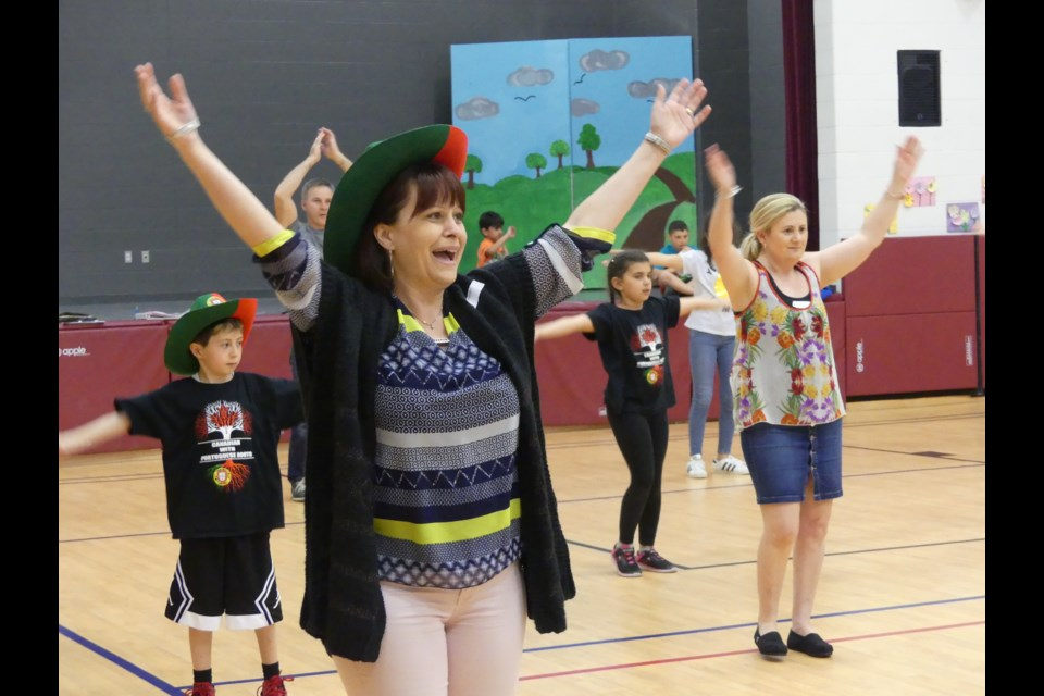 Dancers with the Raizes Portuguesas group practice at St. Angela Merici Catholic School in Bradford West Gwillimbury. Jenni Dunning/Bradford Today