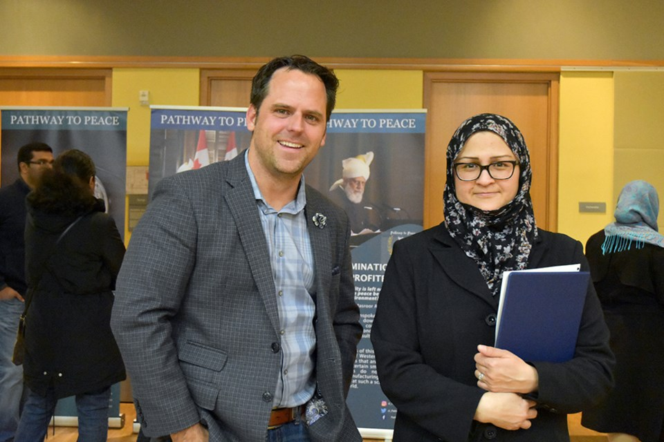 Councillor-elect Peter Ferragine, here with Mona Shah, dropped by to learn more about the heritage of Islam. Miriam King/BradfordToday