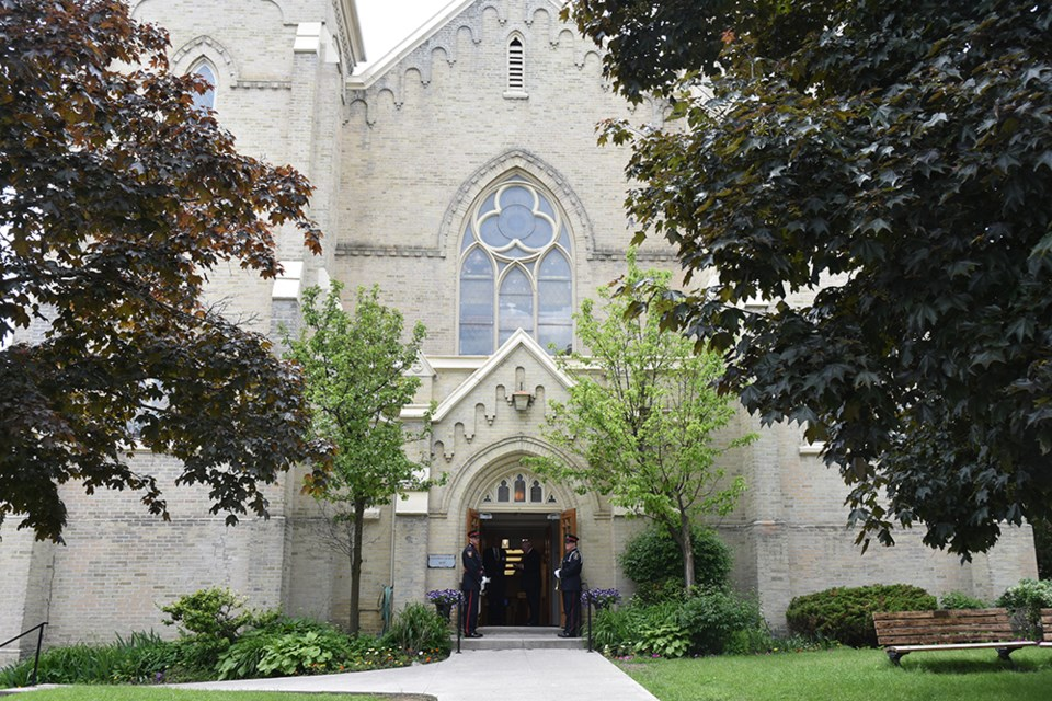 The funeral service for former York-Simcoe MPP Julia Munro was held Monday at Trinity United Church in Newmarket. Miriam King/Bradford Today