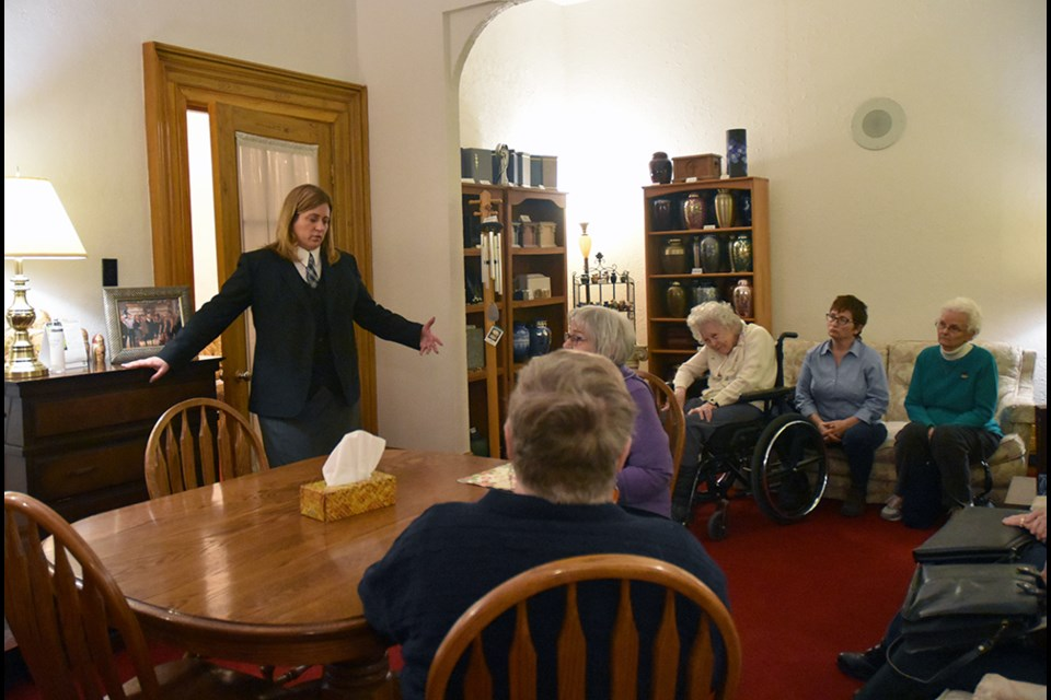 Jill Skwarchuk-Tiano talks about the history and the role of Skwarchuk's Funeral Home to a group from the Bond Head Women's Institute. Miriam King/Bradford Today