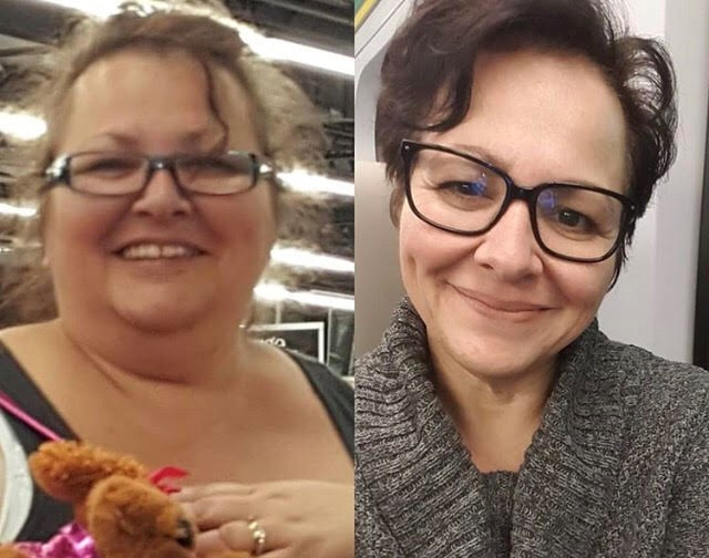 Bradford resident Mina Viscardi-Johnson, shown in these before and after photos, lost 176 pounds in 23 months. Submitted photo/Instagram