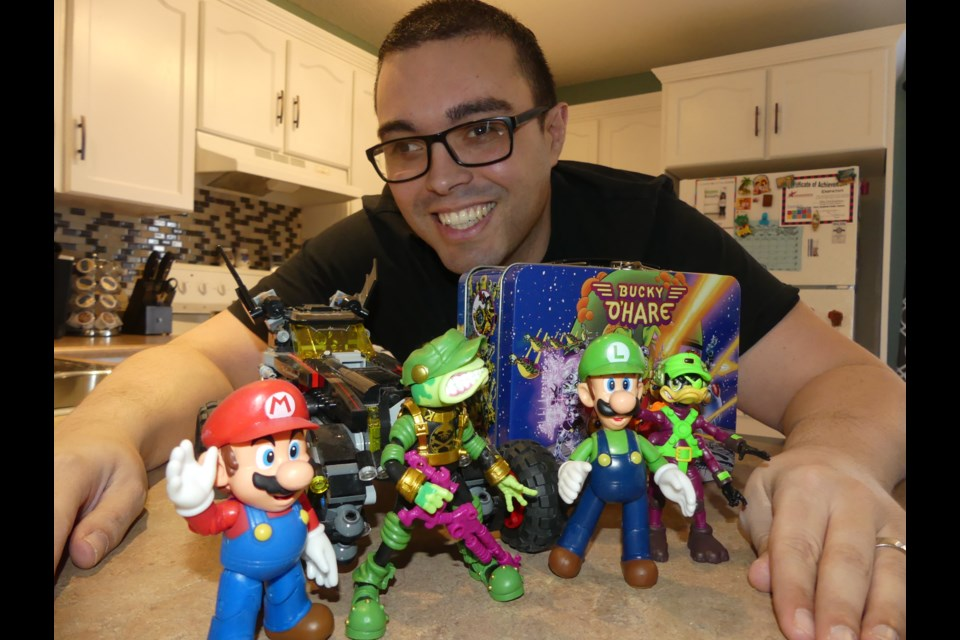 John DeQuadros with some of his characters from Nintendo and Bucky O'Hare. Jenni Dunning/BradfordToday