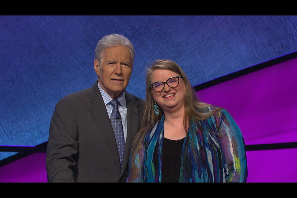 Jeopardy! host Alex Trebek (left) and Sally Leedham. Supplied photo/Jeopardy Productions, Inc.