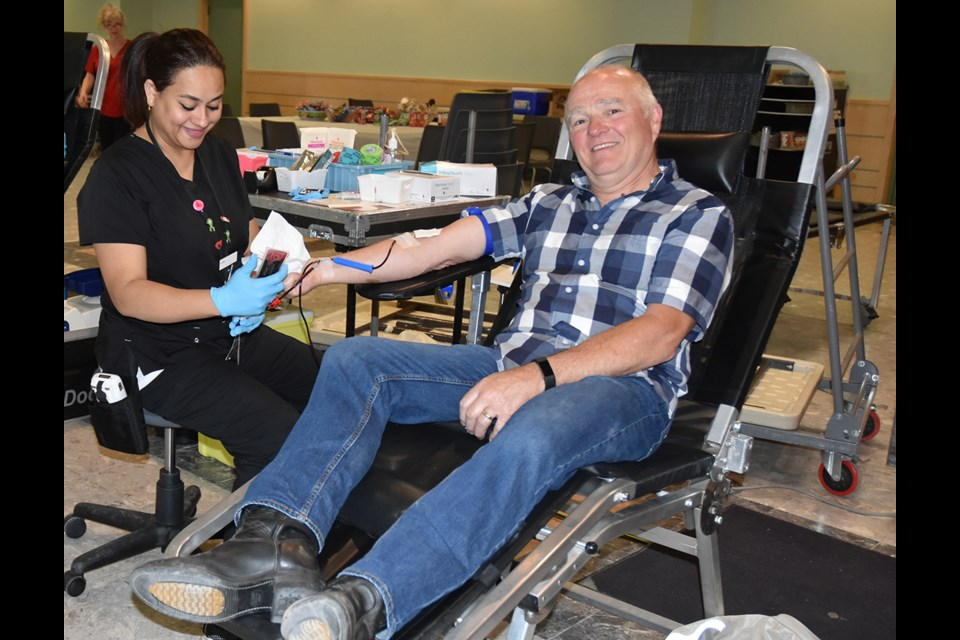 Jack Dickie prepares to reach a milestone – his 75th blood donation – at a blood donor clinic at Holy Martyrs of Japan Catholic Church in Bradford May 16. Miriam King/Bradford Today