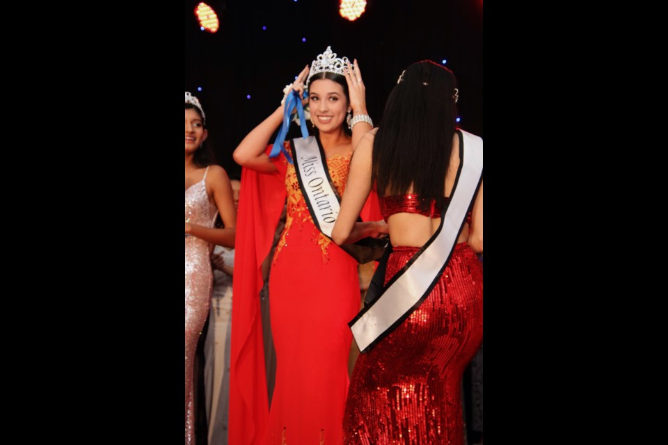 Hayley Bowdery crowned Miss World Ontario on Feb. 2 in Toronto. Submitted Photo.