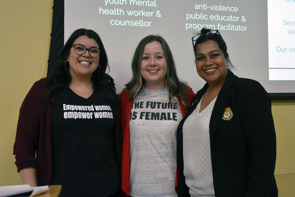 From left, Jess Corbett and Jenn Lloyd of the Bradford Women's Group, and Julie Kumar, Manager of HR with South Simcoe Police, opening the symposium. Miriam King/Bradford Today