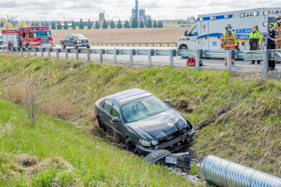 South Simcoe Police responded to a collision on Highway 88 on the morning of May 10, 2021.