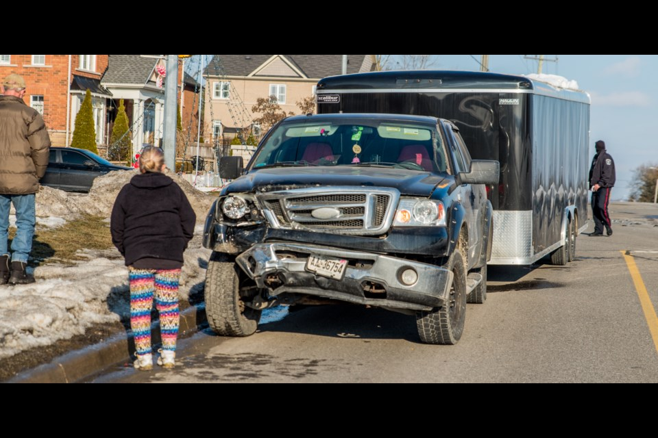 Two vehicles were damaged in a crash at Line 6 and West Park Avenue around 3:45 Saturday.