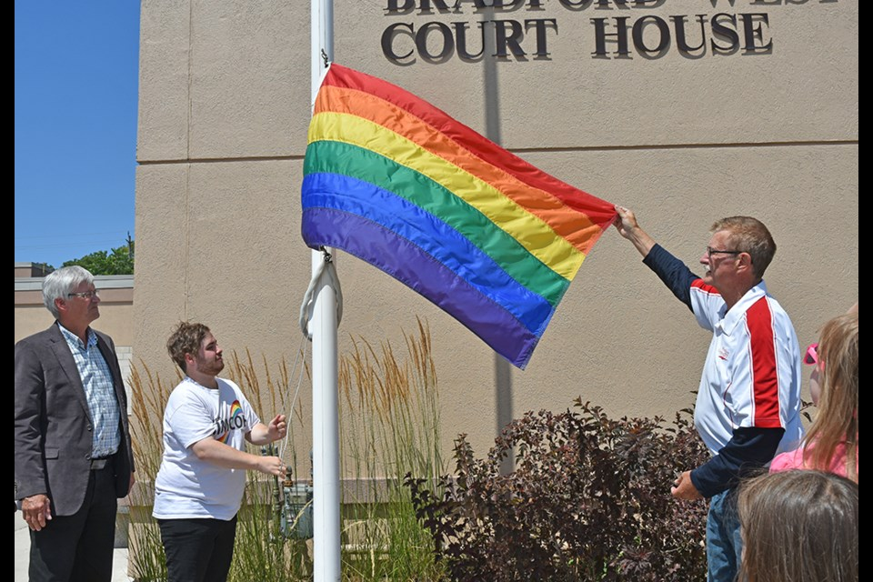 Raising the Rainbow Flag in Bradford for Fierte Simcoe Pride. Miriam King/Bradford Today