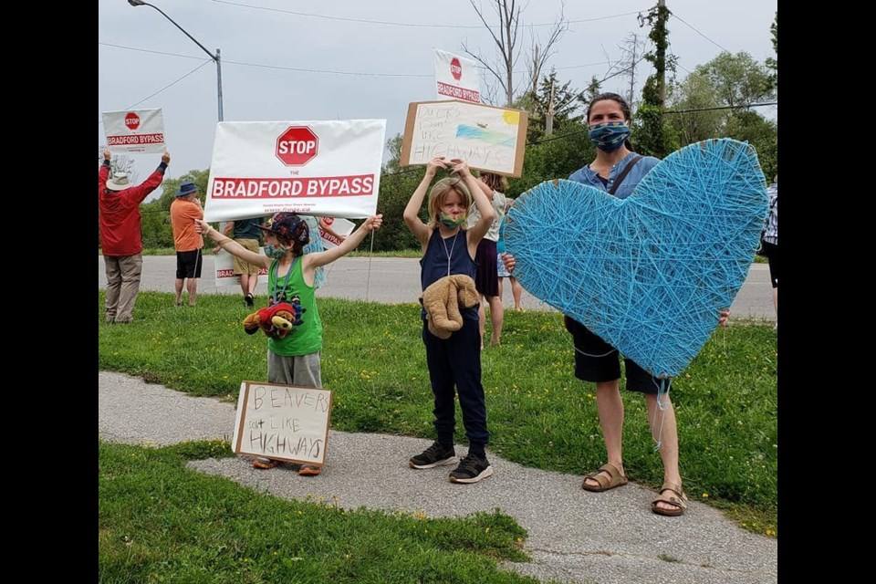Residents from Bradford and neighbouring communities came out on Saturday morning to support the Simcoe County Greenbelt Coalition's protest in front of MPP Carolyn Mulroney's office, opposing the Bradford Bypass project which is set to begin construction as early as 2022.