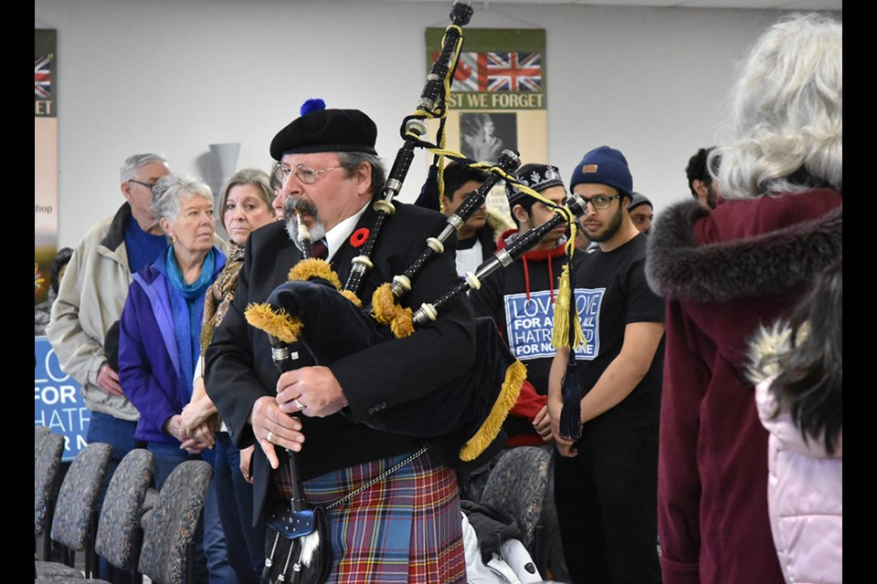 Piper Robert Post pipes in the dignitaries, at a Vigil held in Bradford for the victims of the New Zealand mosque shootings. Miriam King/Bradford Today