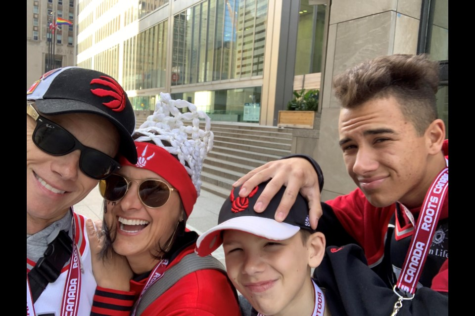 Justin, from left, Cathy, Evan and Kyle Boudreau went to Game 2 of the Raptors playoff game against the Golden State Warriors. Submitted photo