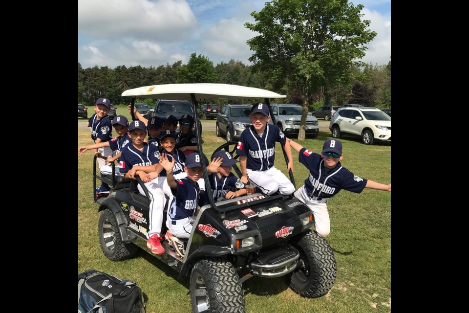 Bradford's Rookie Select hardball team during their host tournament where they placed third overall. Submitted photo
