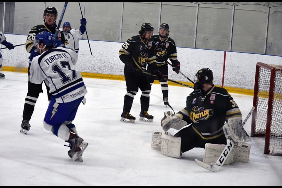 Temiscaming's Marc-Antoine Turcotte scores the first goal, in Period 1. Miriam King/Bradford Today