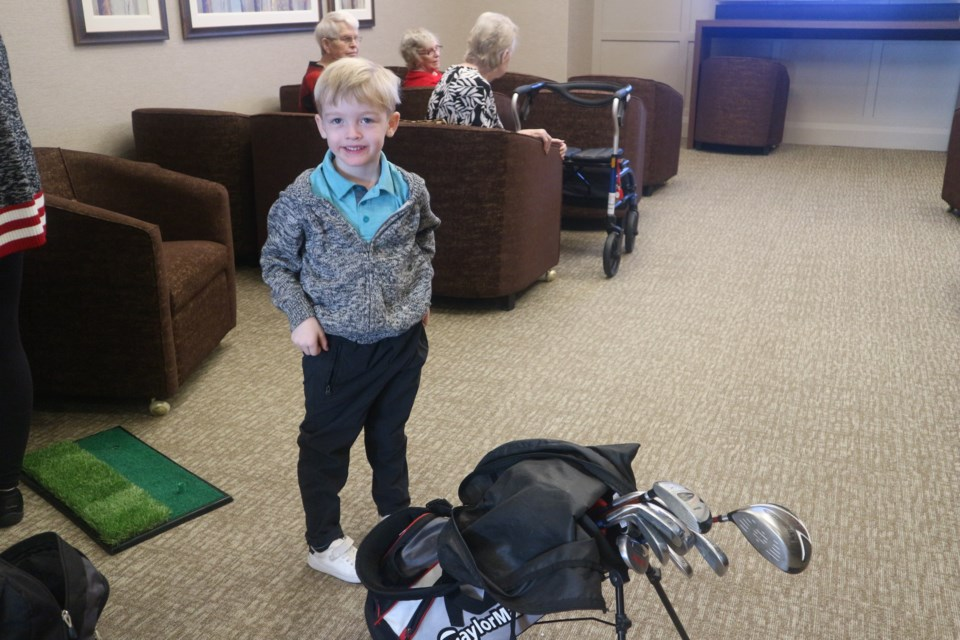 Five-year-old Carter Stephen is an avid golfer and can drive a ball anywhere from 90-100 yards. Natasha Philpott/BradfordToday