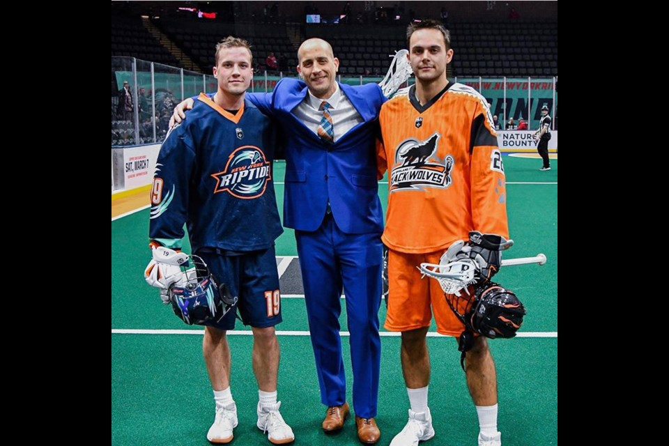 Tyson Gibson (left) with coach and former pro lacrosse player Darryl Gibson with MLL Bayhawks professional player Nick Chaykowsky (right). Submitted