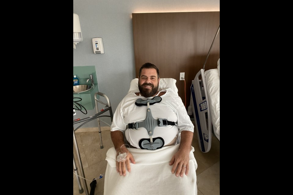 'Coach Joe' suffered fractured ribs, a puncture in his right lung and shattered L3 vertebrae from a fall at the hotel he was staying in while honeymooning in Mexico. Submitted.
