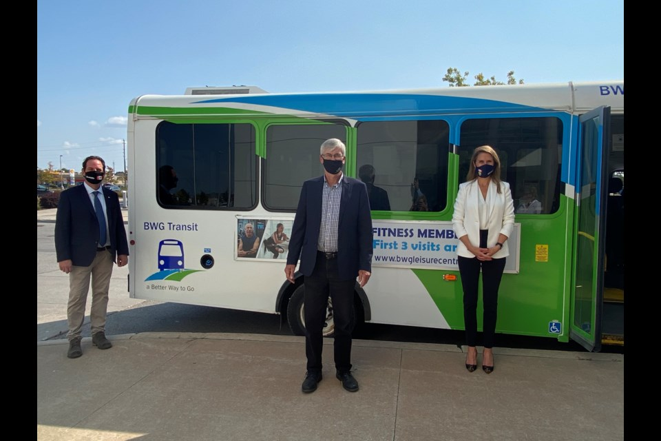 York-Simcoe MP Scot Davidson, Mayor of BWG Rob Keffer and MPP Caroline Mulroney were pleased to announce the provincial transit funding for BWG on Friday afternoon. Natasha Philpott/BradfordToday