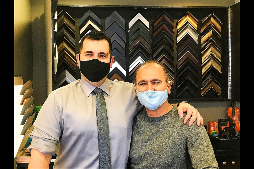 Tyler Tossounian (left) with his Father Haig, have merged Tyler's business (The Bradford Academy of Music) with Haig's newest business, Bradford Art and Framing. Both businesses are within the academy's existing store.   JackieKozak/BradfordToday