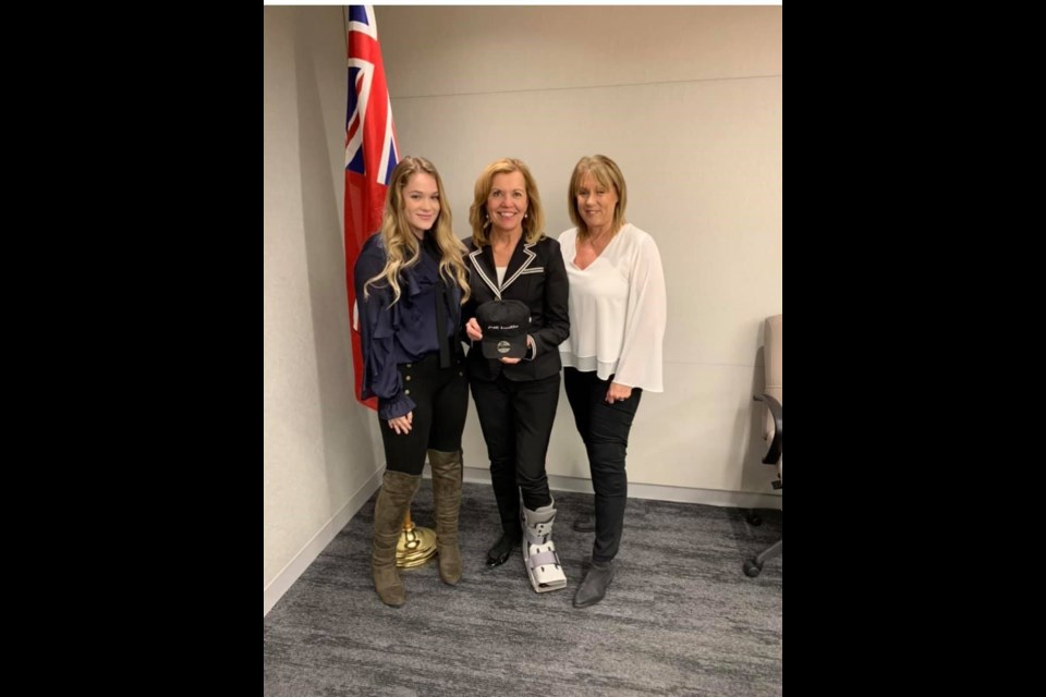 One of many meetings with MOH-MPP Christine Elliott (middle) advocating for CF modulators (Pictured: Beth Vanstone and Madi Vanstone)