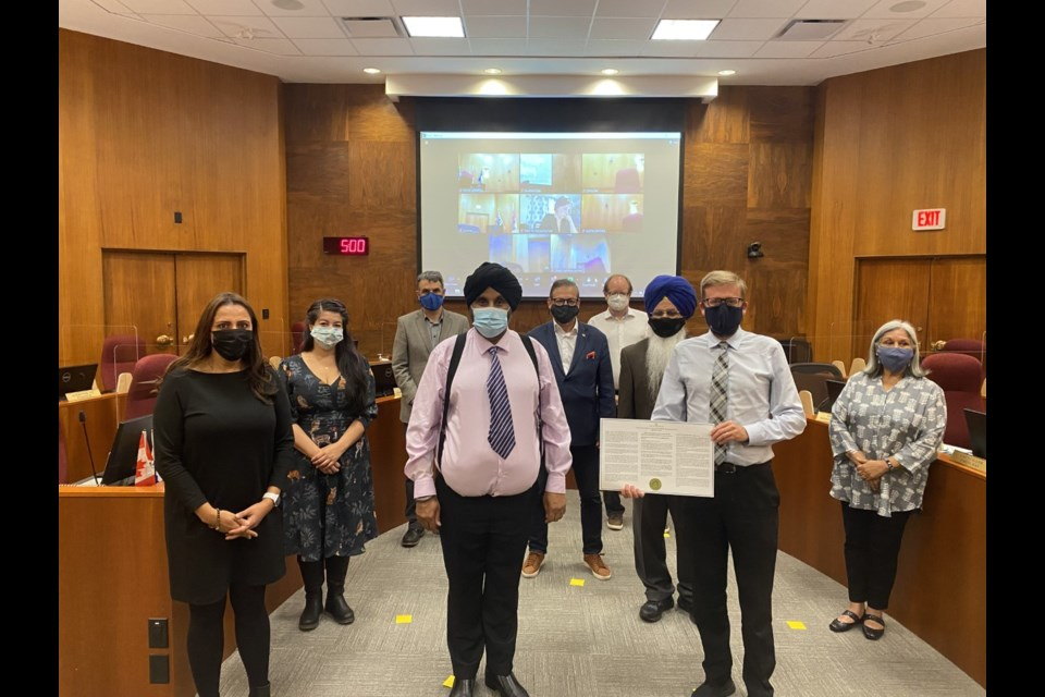 Members of the Descendants of the Komagata Maru Society joined members of council and city staff in council chambers for an apology related to city council's actions in connection to the Komagata Maru incident in 1914.