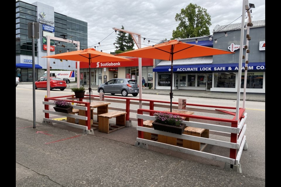 An on-street patio in the 400 block of Sixth Street is one of about 20 new temporary patios and parklets in New West.
