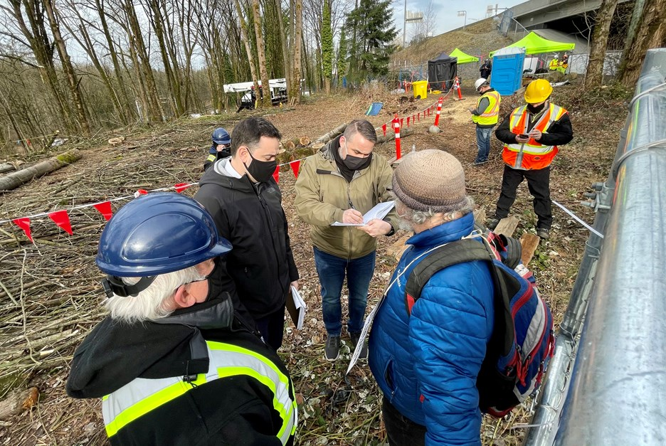 At least one person was arrested at a Trans Mountain site just west of North Road in Burnaby.