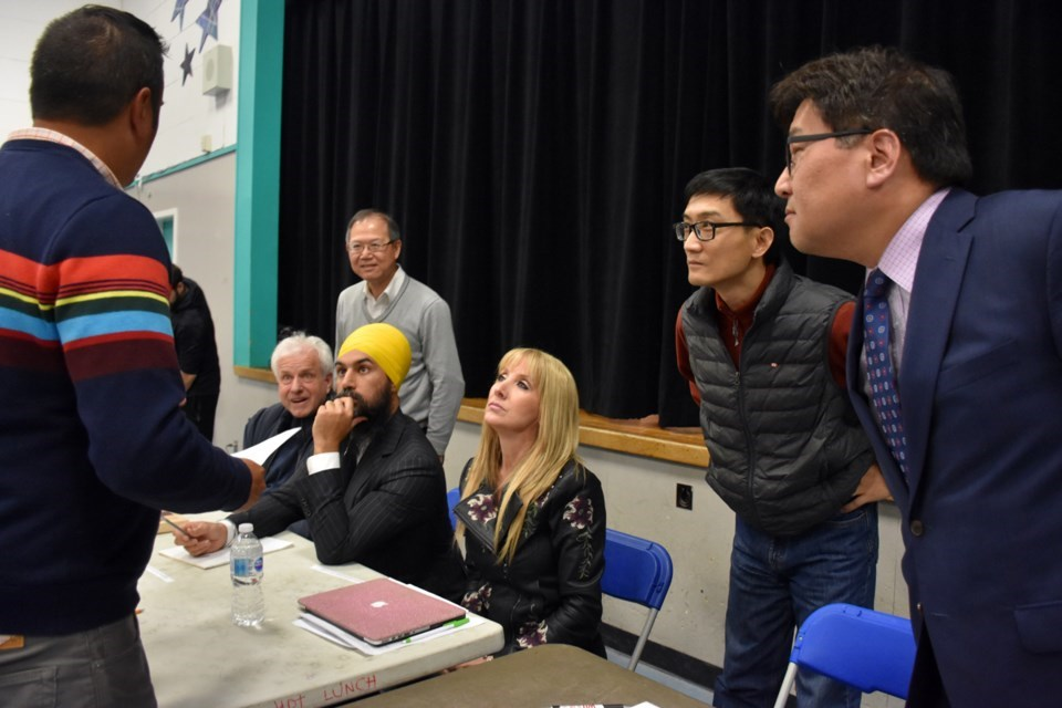 In 2019, debate moderator Stephen D'Souza explains the ground rules of to Burnaby South candidates. Left to right: independent Terry Grimwood, Liberal Richard Lee (behind), NDP Leader Jagmeet Singh, Laura-Lynn Tyler Thompson of the People's Party, independent Valentine Wu and Conservative Jay Shin.