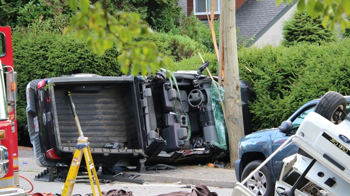Burnaby firefighters, police and paramedics are on scene on Duthie Avenue at Montecito Drive in front of Montecito Elementary for a crash involving two pick-up trucks.